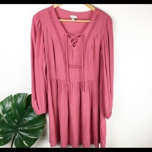 Boho pink dress with slip included